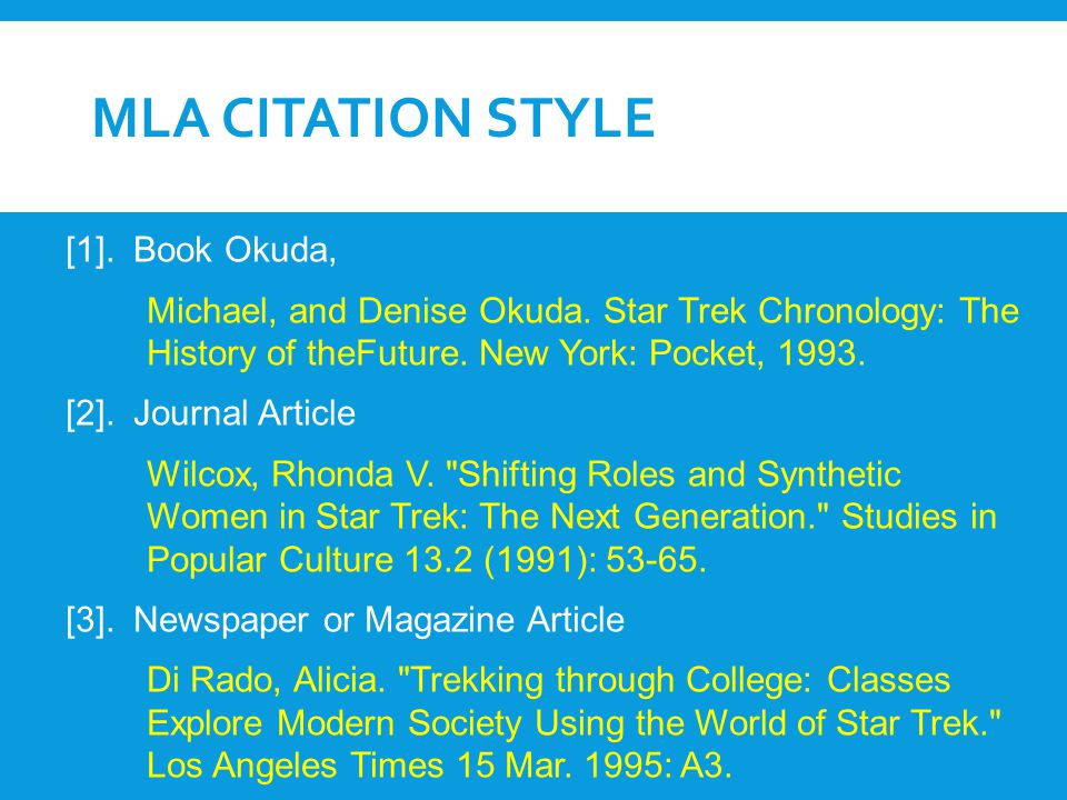 MLA citation Style [1]. Book Okuda,